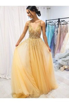 A-Line Beaded Tulle Long Prom Dresses Formal Evening Gowns 6011250