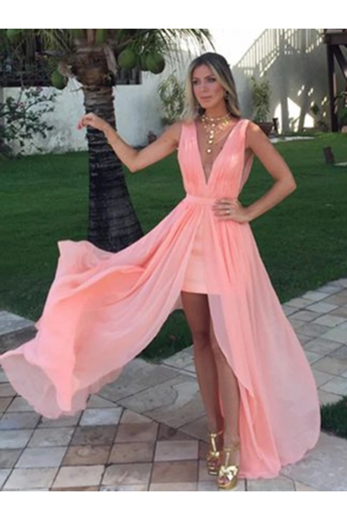 A-Line Chiffon V-Neck Long Prom Dresses Formal Evening Gowns 6011257