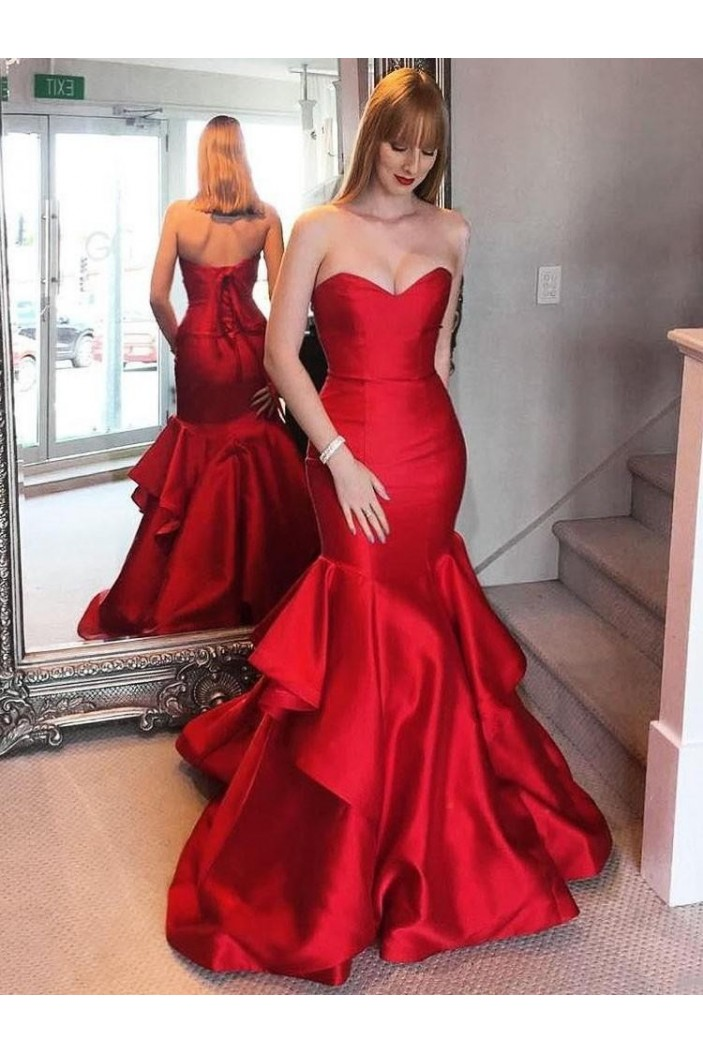 Mermaid Long Red Satin Prom Dresses Formal Evening Gowns 6011260