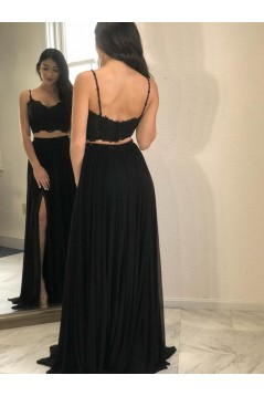 A-Line Two Pieces Long Black Prom Dresses Formal Evening Gowns 6011262