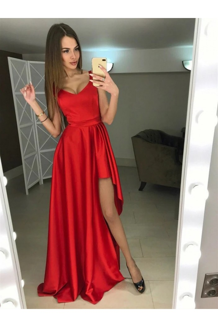 A-Line Asymmetrical Long Red Prom Dresses Formal Evening Gowns 6011263