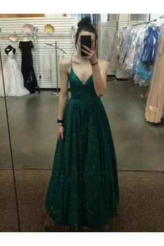 A-Line Sparkle Sequins Long Green Prom Dresses Formal Evening Gowns 6011264