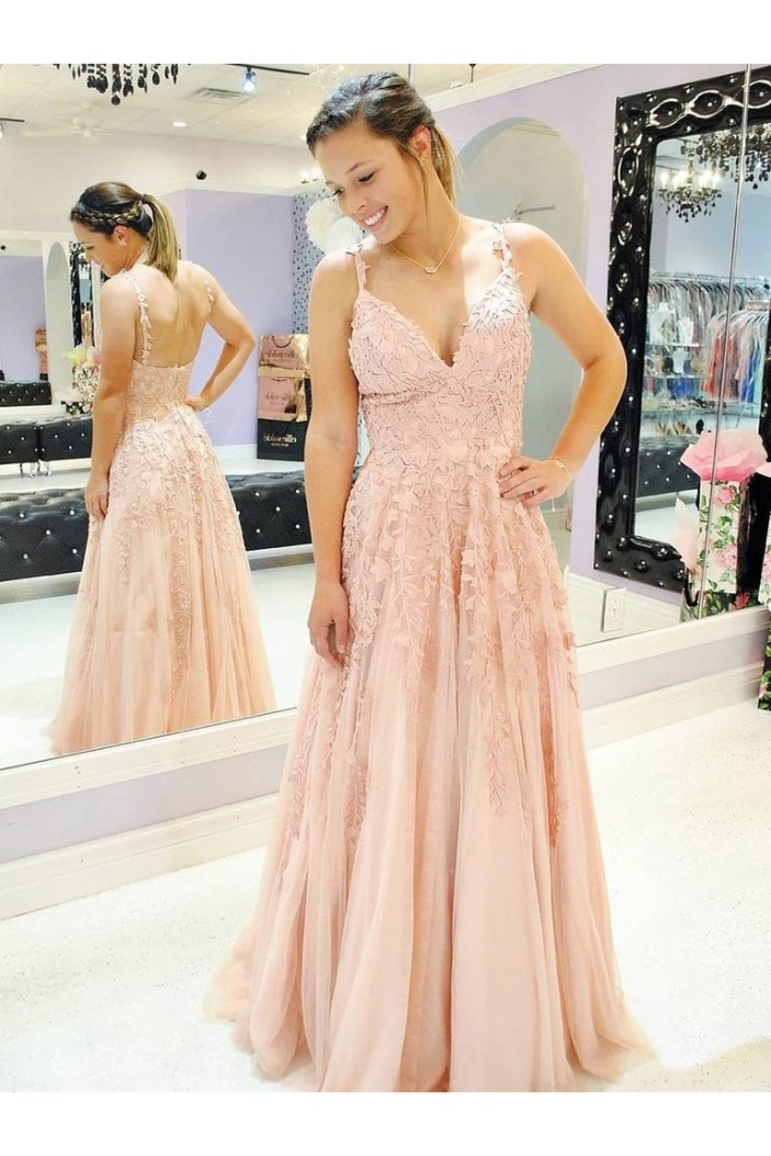 A-Line Lace V-Neck Long Prom Dresses Formal Evening Gowns 6011265