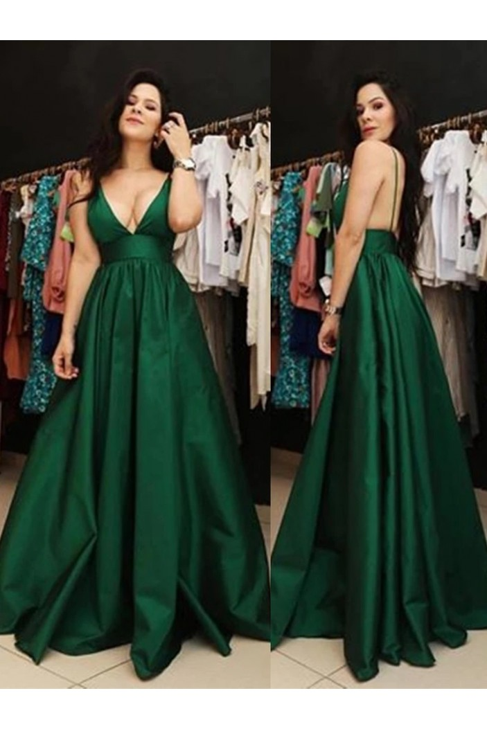 A-Line Long Green V-Neck Prom Dresses Formal Evening Gowns 6011266