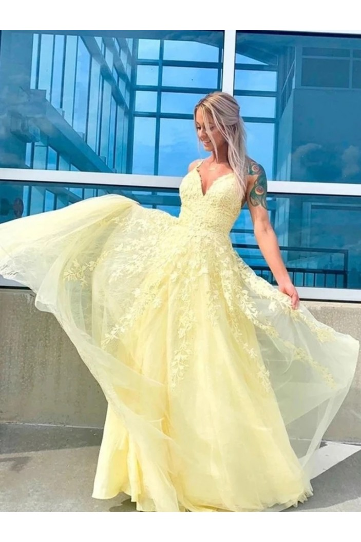 A-Line Long Yellow Lace V-Neck Prom Dresses Formal Evening Gowns 6011268