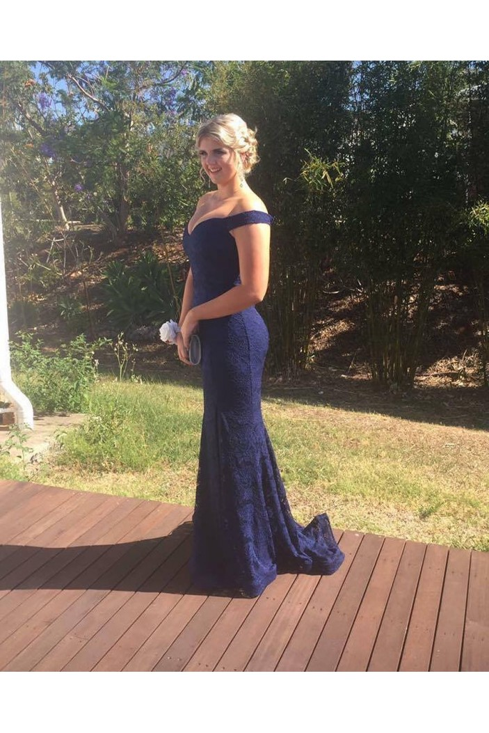 Mermaid Long Navy Lace Off-the-Shoulder Prom Dresses Formal Evening Gowns 6011269