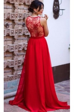 A-Line Long Red Prom Dresses Formal Evening Gowns 6011271