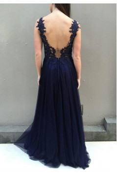 A-Line Lace Navy Blue Long Prom Dresses Formal Evening Gowns 6011278