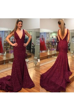 Mermaid V-Neck Sparkle Long Prom Dresses Formal Evening Gowns 6011279