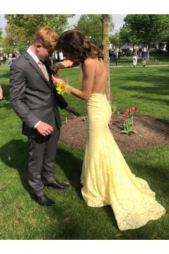 Long Yellow Lace Mermaid Backless Prom Dresses Formal Evening Gowns 6011280