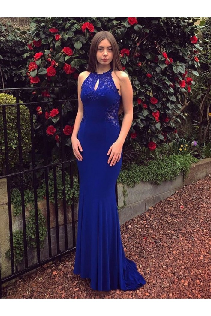 Mermaid Long Lace Royal Blue Prom Dresses Formal Evening Gowns 6011281