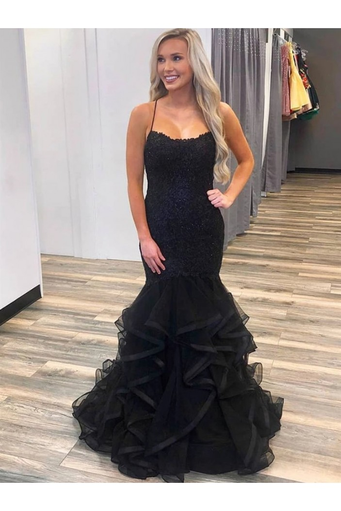 Long Black Lace Mermaid Prom Dresses Formal Evening Gowns 6011282