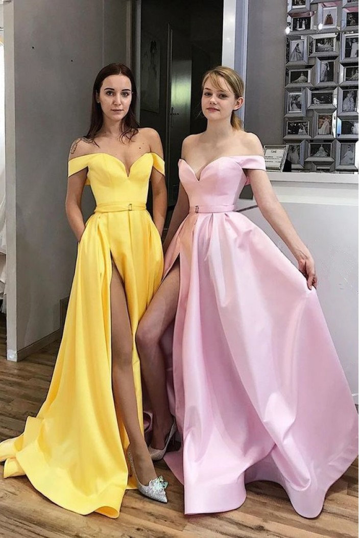 A-Line Off-the-Shoulder Long Prom Dresses Formal Evening Gowns 6011284