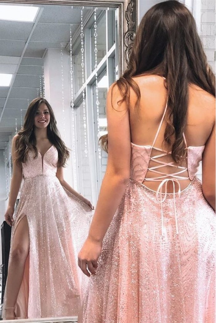 A-Line Sparkle Pink Sequins Long Prom Dresses Formal Evening Gowns 6011288