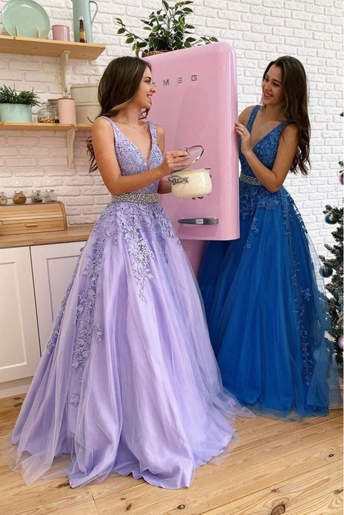 A-Line Beaded Lace Appliques Long Prom Dresses Formal Evening Gowns 6011289