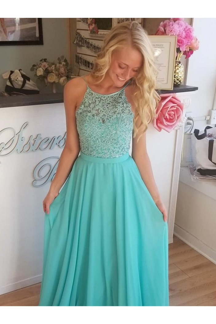 A-Line Chiffon Lace Long Prom Dresses Formal Evening Gowns 6011294