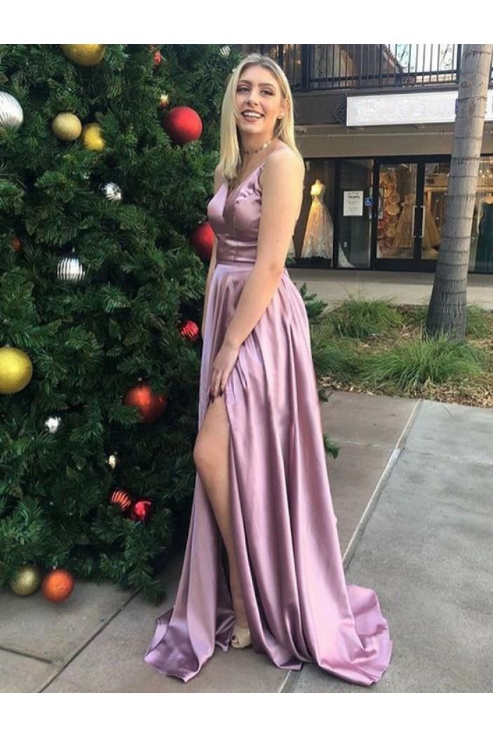 A-Line V-Neck Long Prom Dresses Formal Evening Gowns 6011295