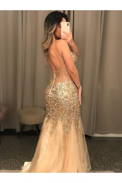 Mermaid Beaded Two Pieces Long Prom Dresses Formal Evening Gowns 6011301