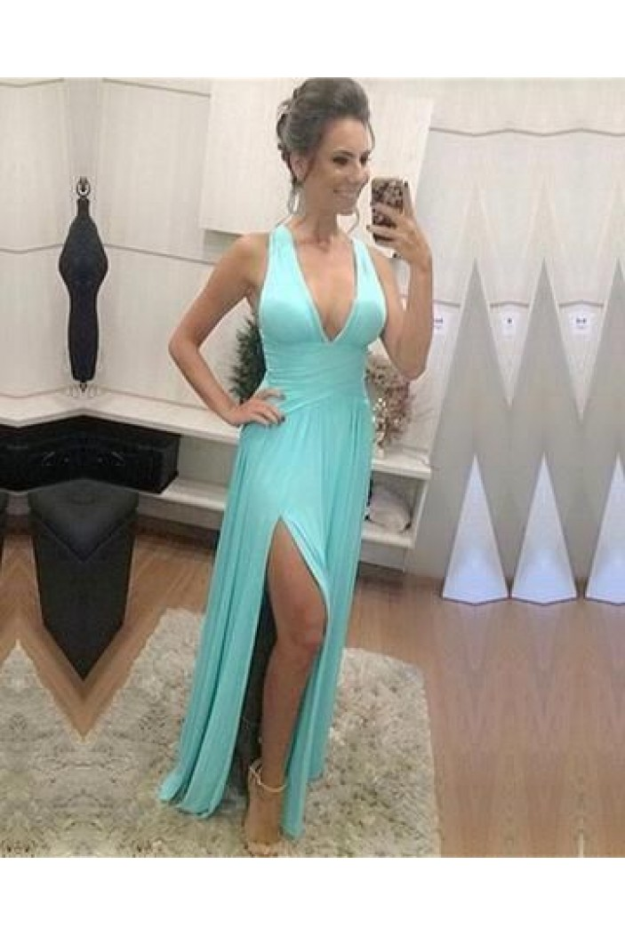 Long Chiffon V-Neck Prom Dresses Formal Evening Gowns 6011302