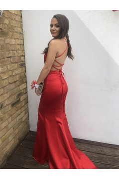 Mermaid Long Red V-Neck Prom Dresses Formal Evening Gowns 6011305