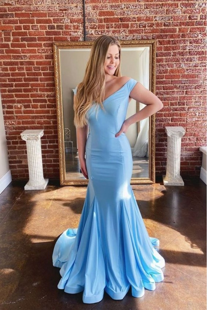 Mermaid Off-the-Shoulder Long Prom Dresses Formal Evening Gowns 6011308