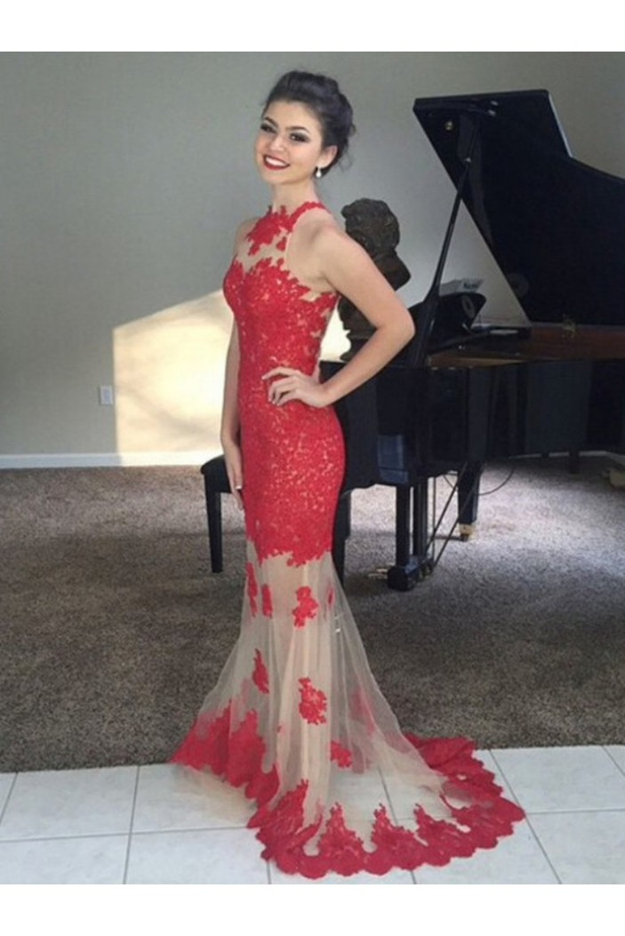 Mermaid Lace Appliques Long Prom Dresses Formal Evening Gowns 6011312