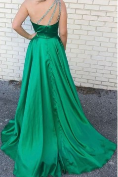 A-Line Beaded One-Shoulder Long Green Prom Dresses Formal Evening Gowns 6011315