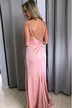 Sheath/Column V-Neck Long Prom Dresses Formal Evening Gowns 6011317
