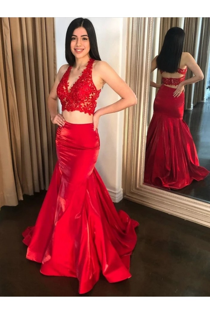 Long Red Two Pieces Lace Prom Dresses Formal Evening Gowns 6011320