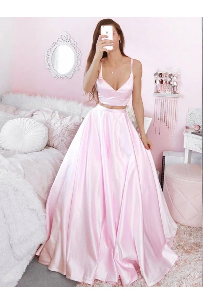 A-Line Two Pieces Long Pink Prom Dresses Formal Evening Gowns 6011322