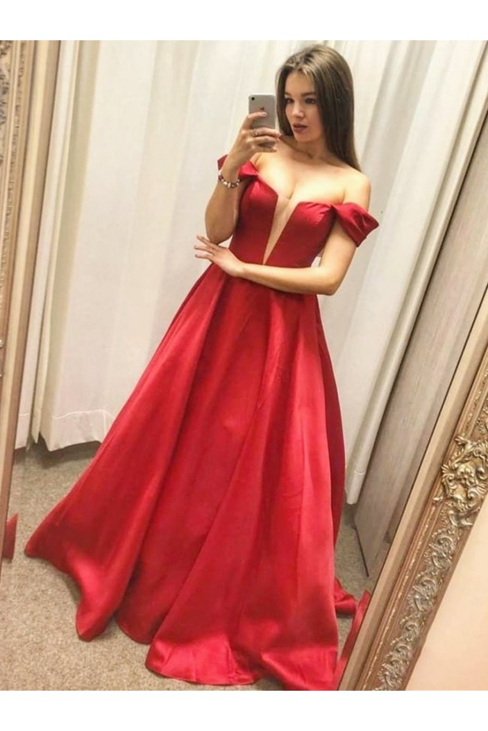 A-Line Off-the-Shoulder Long Prom Dresses Formal Evening Gowns 6011325