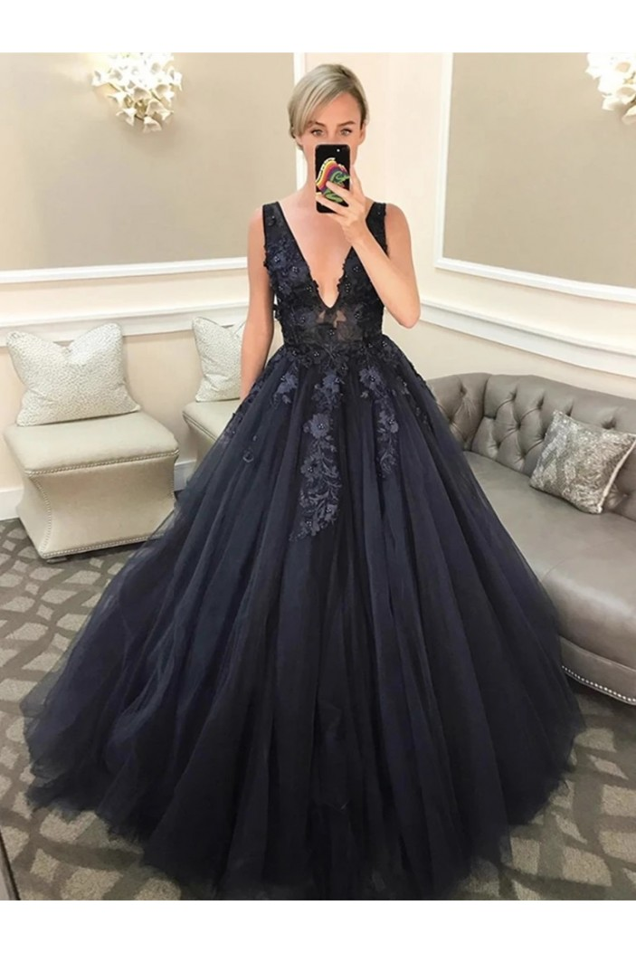 A-Line Lace V-Neck Long Prom Dresses Formal Evening Gowns 6011326