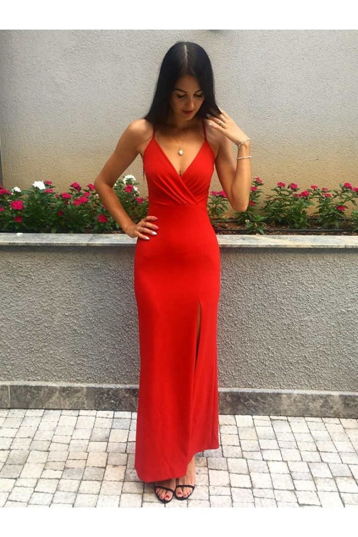 Long Red V-Neck Prom Dresses Formal Evening Gowns 6011328