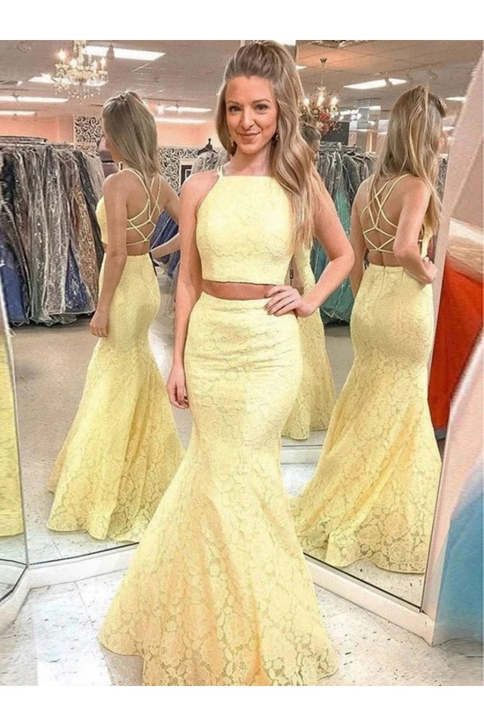 Long Yellow Lace Two Pieces Prom Dresses Formal Evening Gowns 6011334