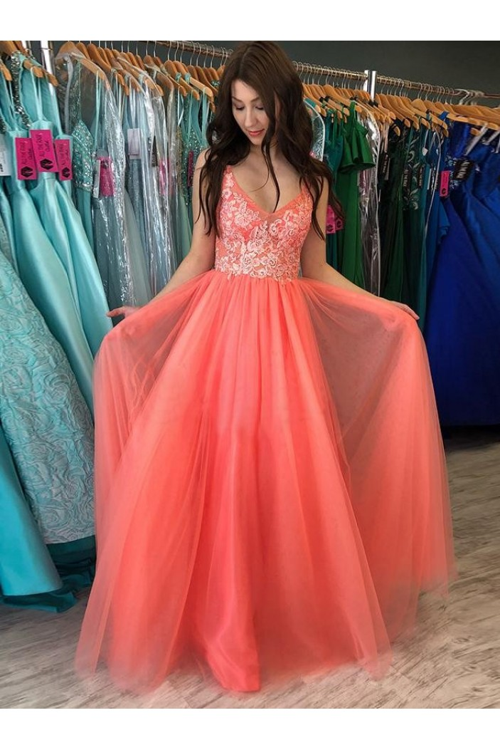 A-Line Lace V-Neck Long Prom Dresses Formal Evening Gowns 6011337