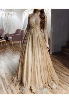 A-Line Sparkle V-Neck Long Prom Dresses Formal Evening Gowns 6011338