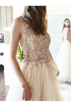 A-Line Beaded Tulle Long Prom Dresses Formal Evening Gowns 6011339