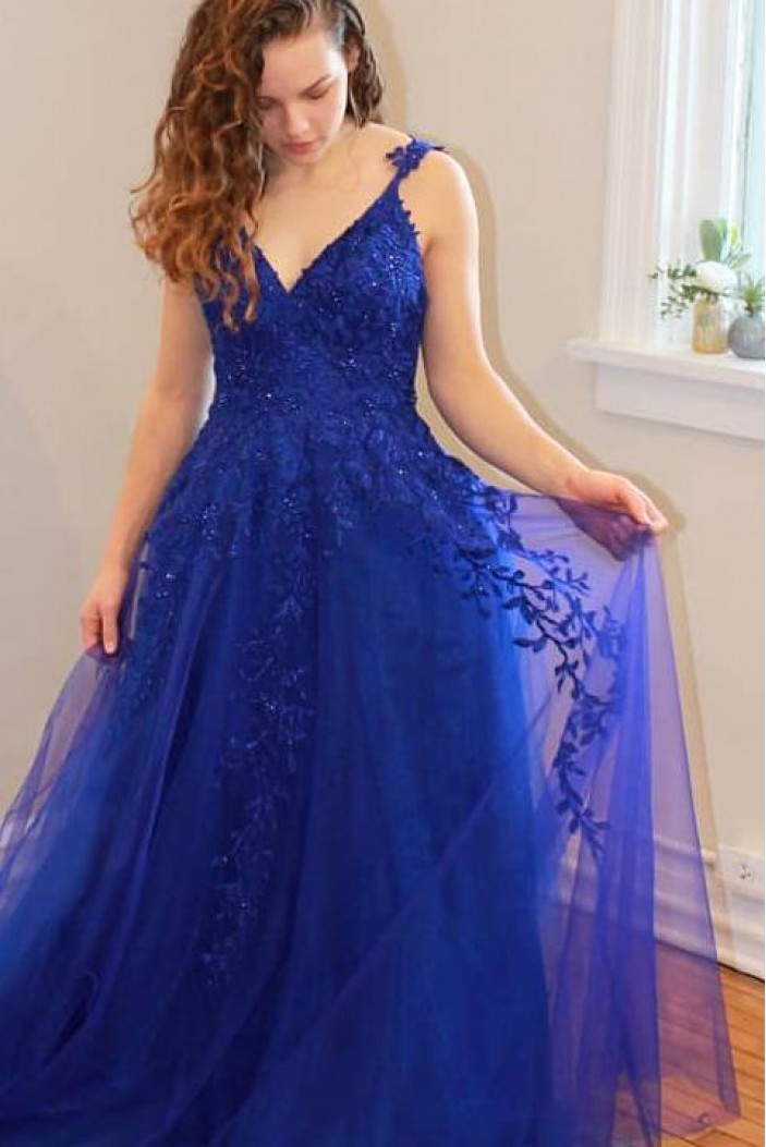 A-Line Lace Appliques Long Prom Dresses Formal Evening Gowns 6011340