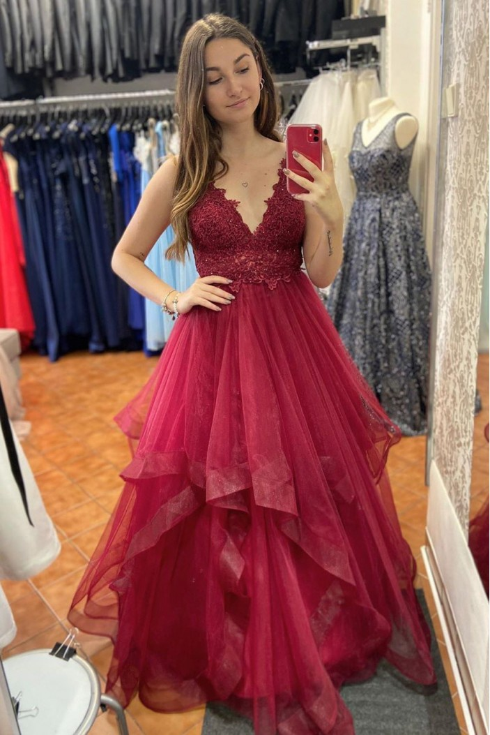 A-Line Lace Long Prom Dresses Formal Evening Gowns 6011342