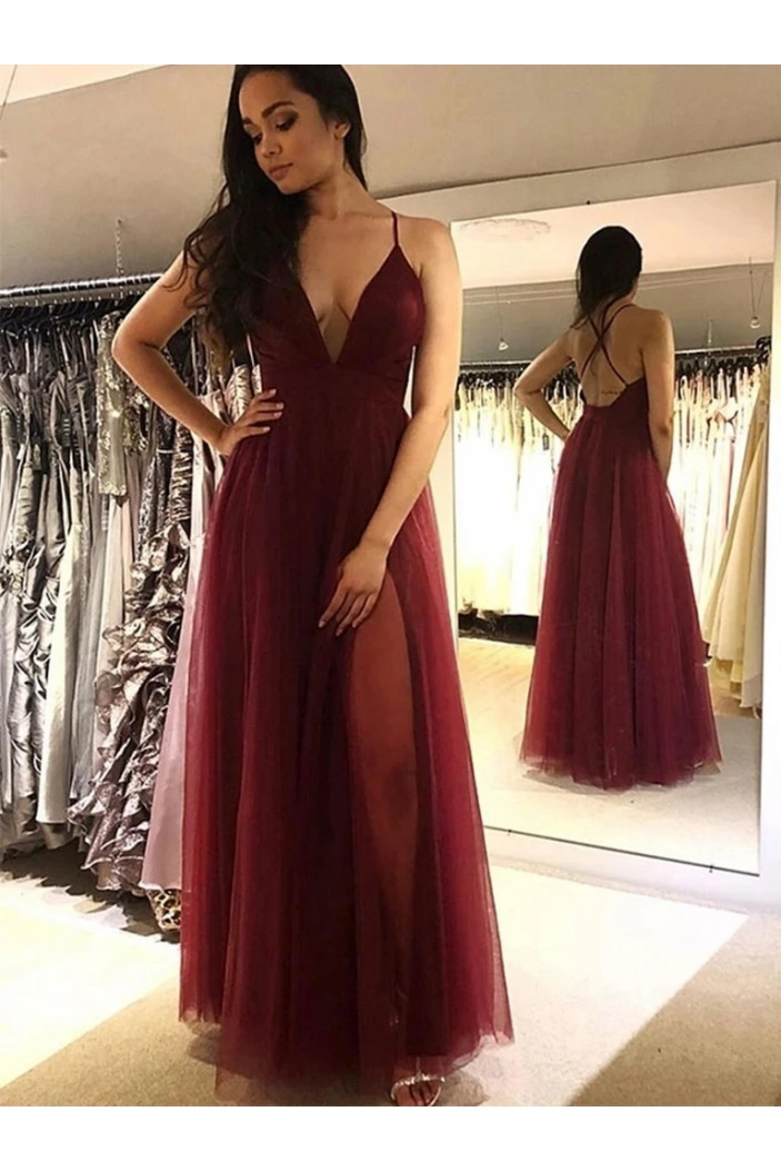 A-Line V-Neck Long Prom Dresses Formal Evening Gowns 6011345