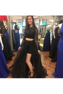 A-Line Two Pieces Lace Long Prom Dresses Formal Evening Gowns 6011355
