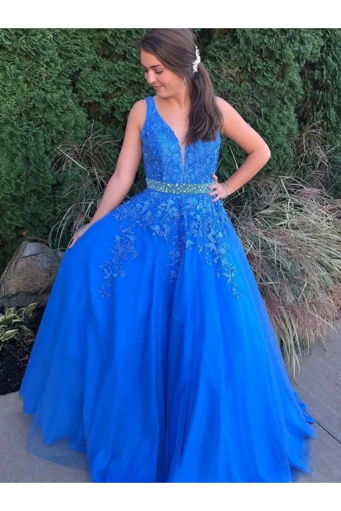 A-Line Beaded V-Neck Long Prom Dresses Formal Evening Gowns 6011361