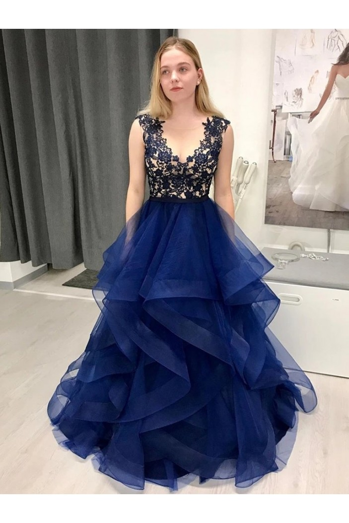 A-Line Lace Tulle Long Prom Dresses Formal Evening Gowns 6011362