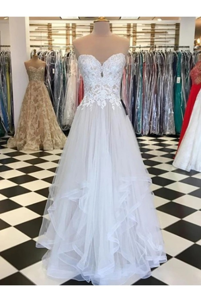A-Line Lace Tulle Long Prom Dresses Formal Evening Gowns 6011365