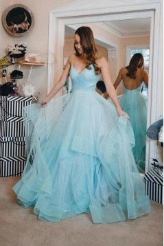 A-Line Sequins Tulle V-Neck Long Prom Dresses Formal Evening Gowns 6011366
