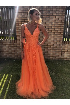 A-Line Beaded Lace Tulle Long Prom Dresses Formal Evening Gowns 6011367