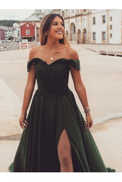 A-Line Lace Off-the-Shoulder Long Prom Dresses Formal Evening Gowns 6011368