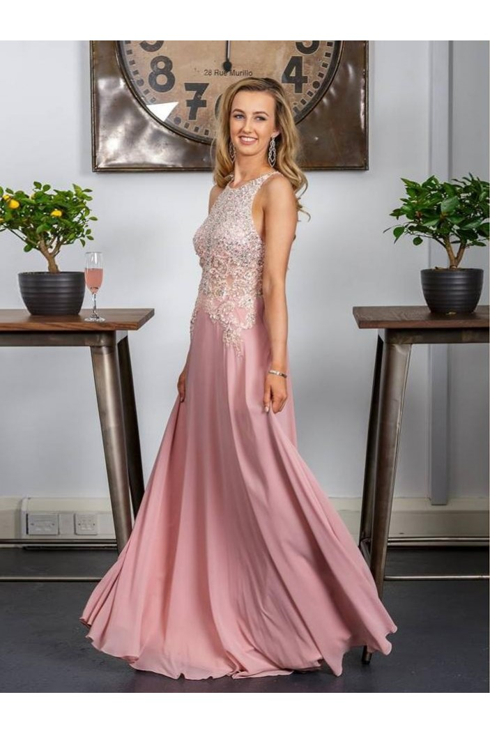 A-Line Beaded Lace Long Prom Dresses Formal Evening Gowns 6011370