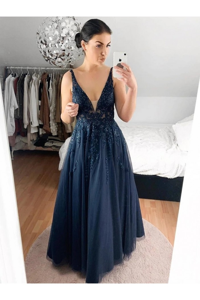 A-Line Beaded Lace Long Prom Dresses Formal Evening Gowns 6011371