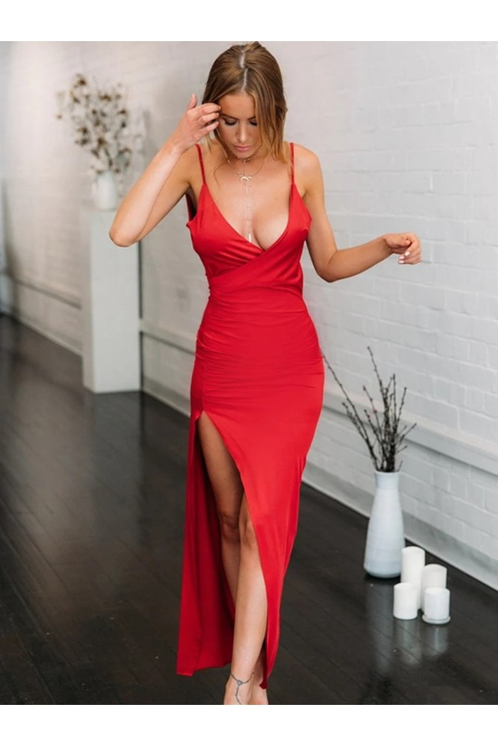 Sheath Long Red Prom Dresses Formal Evening Gowns 6011373